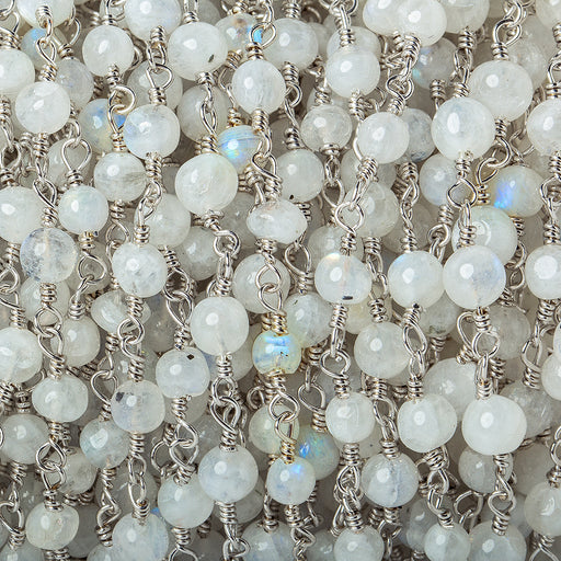 4-5mm Rainbow Moonstone plain round Silver plated Chain by the foot 24 beads