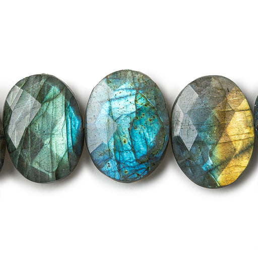 17x12-19x13mm Labradorite side drilled faceted ovals 8 inch 16 beads