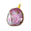 High quality 2x1.5 inch Gold Leafed Hot Pink Agate Slice Focal bead Bailed Pendant 1 piece - Buy From The Bead Traders Online Store.
