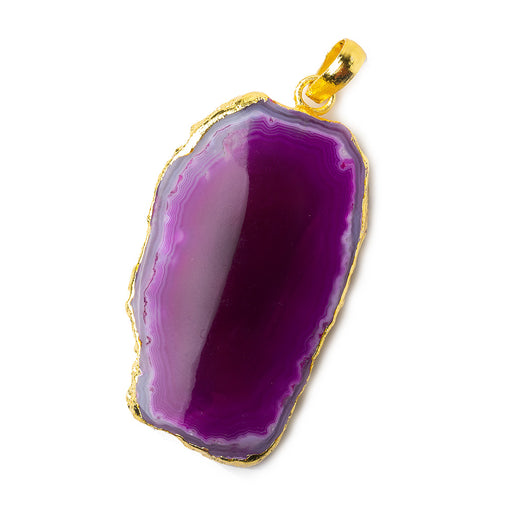 2x1 inch Gold Leafed Hot Purple Pink Agate Slice Focal bead Bailed Pendant 1 piece