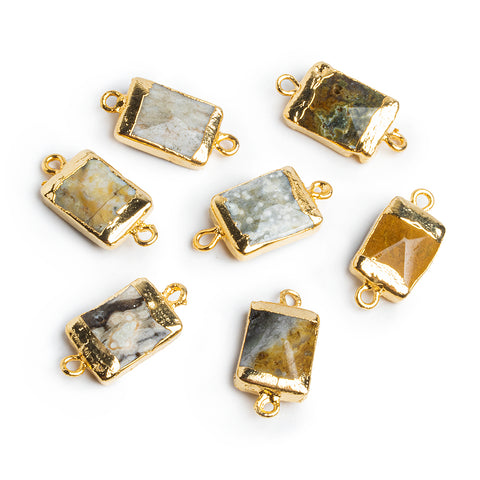 Gold Leafed Green Ocean Jasper Rectangle Connector 1 Piece