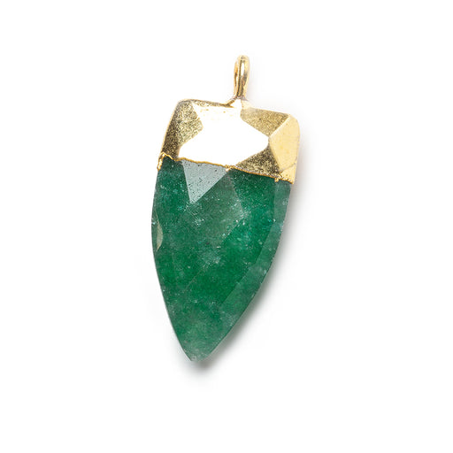 20x10mm Gold Leafed Green Aventurine faceted point focal Pendant 1 piece