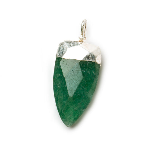 20x10mm Silver Leafed Green Aventurine faceted point focal Pendant 1 piece