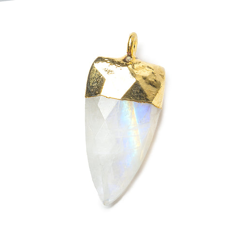 20x10mm Gold Leafed Rainbow Moonstone faceted point focal Pendant 1 piece