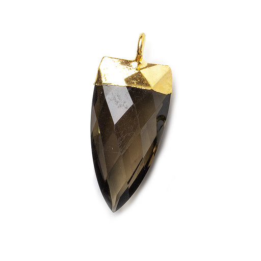 20x10mm Gold Leafed Smoky Quartz faceted point focal Pendant 1 piece