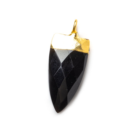 20x10mm Gold Leafed Black Chalcedony faceted point focal Pendant 1 piece