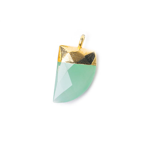 15x10mm Gold Leafed Seafoam Green Chalcedony faceted horn focal Pendant 1 piece