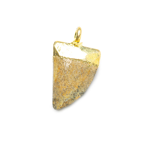 15x10mm Gold Leafed Desert Jasper faceted horn focal Pendant 1 piece