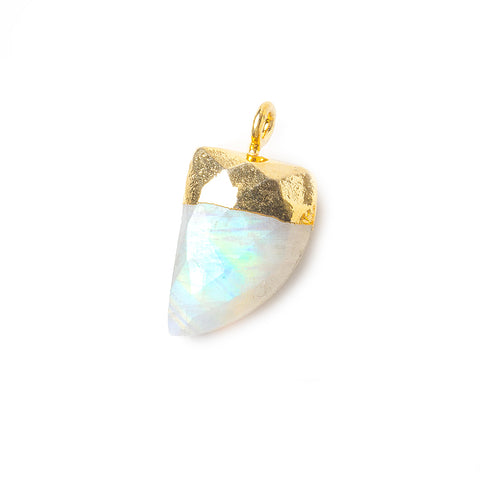 15x10mm Gold Leafed Rainbow Moonstone faceted horn focal Pendant 1 piece