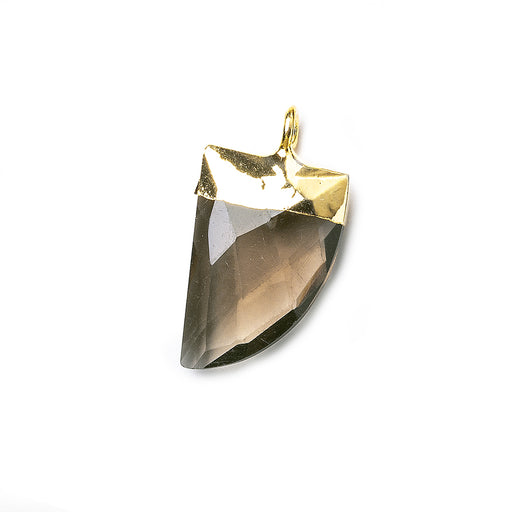 15x10mm Gold Leafed Smoky Quartz faceted horn focal Pendant 1 piece
