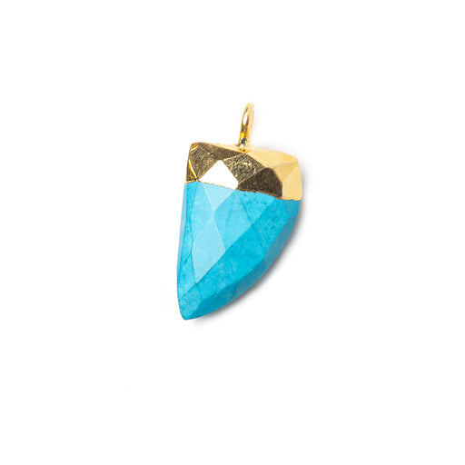 15x10mm Gold Leafed Turquoise Howlite faceted horn focal Pendant 1 piece