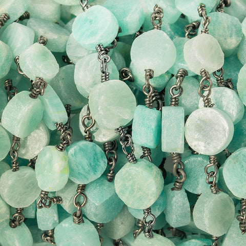 6-7mm Amazonite plain coin Black Gold plated Chain by the foot 22 beads