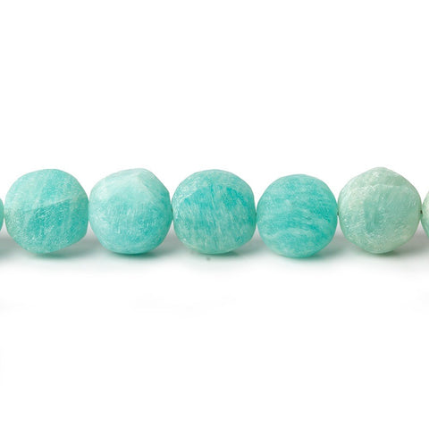 7-8mm Matte Amazonite plain coins 7.5 inch 24 beads A