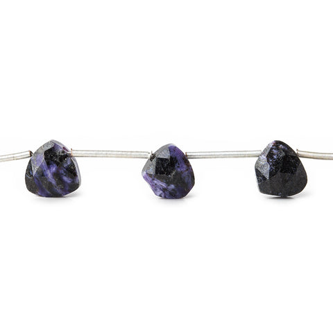 Dark Charoite Beads Top Drilled Faceted 8mm Heart Beads,