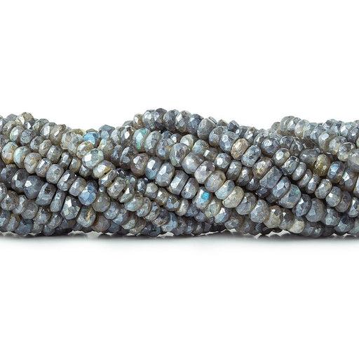 Mystic Labradorite faceted rondelle 13 inch 114 beads