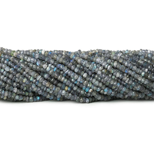 Blue Mystic Labradorite native cut faceted rondelle 13 inch 140 beads