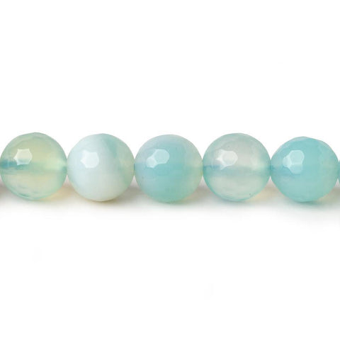 8mm Seaglass Aqua Agate faceted rounds 15 inch 47 beads