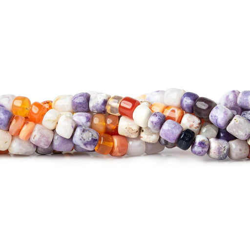 Fire Opal & Morado Opal plain rondelle and barrel beads 18 inches 95 pieces