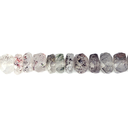5-7mm Mossy Amethyst with Lepidocrocite Faceted Rondelle Bead 16 in 120 pcs