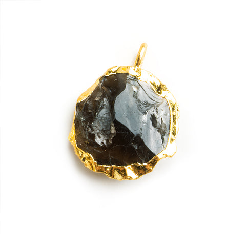 Gold Leafed Hammer Faceted Smoky Quartz Coin Pendant 1 Piece