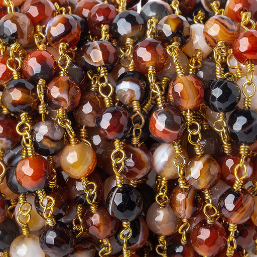6mm Brown, Black, & Orange banded Agate faceted round Gold Chain by the foot 24 pieces
