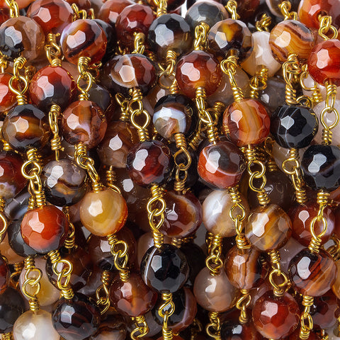Premium quality 6mm Brown, Black, & Orange banded Agate faceted round Gold Chain by the foot 24 pieces - Buy From The Bead Traders Online Store.
