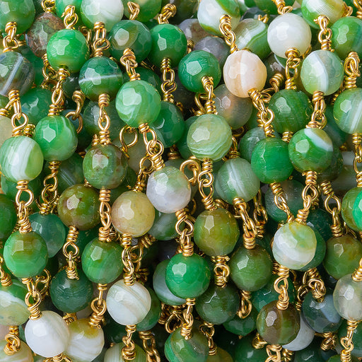 6mm Irish Greens Agate faceted round Gold plated Chain by the foot 26 pieces