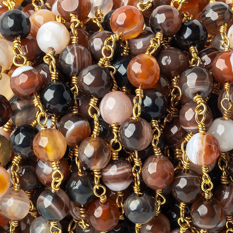 6mm Brown, Cream, & Orange banded Agate faceted round Gold Chain by the foot 24 pieces