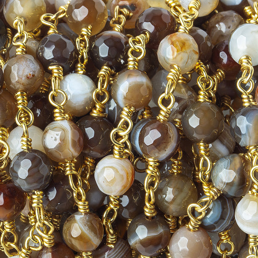 6mm Mocha Brown & Cream banded Agate faceted round Gold Chain by the foot 24 pieces