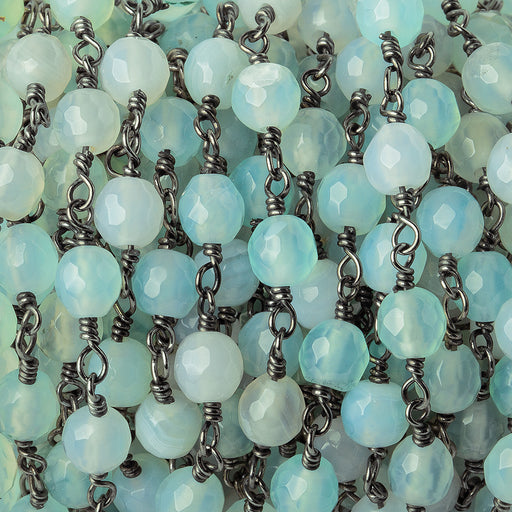5.5mm Seafoam Blue Green Agate faceted round Black Gold plated Chain by the foot 23 pieces