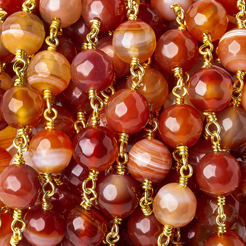8mm Red Orange banded Agate faceted round Black Gold plated Chain by the foot 20 pieces