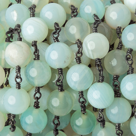 8.5mm Beach Chic Blue Green Agate plain round Black Gold plated Chain by the foot 20 pieces