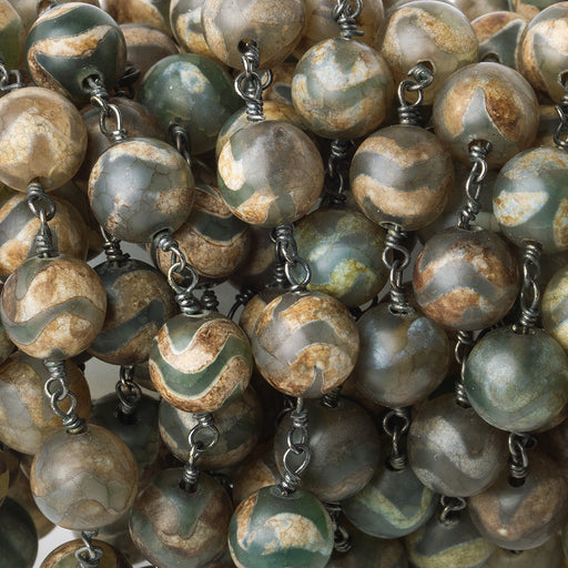 8mm Tibetan Teal & Brown Zig Zag Agate plain round Black Gold plated Chain by the foot 22 pieces