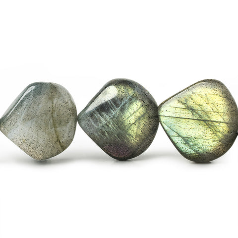 13x13-15x15mm Labradorite Straight Drilled Plain Heart Beads 8 inch 13 pieces