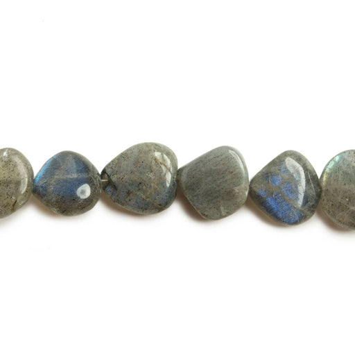 9x9-11x11mm Labradorite Straight Drilled Plain Heart Beads 8 inch 20 pieces