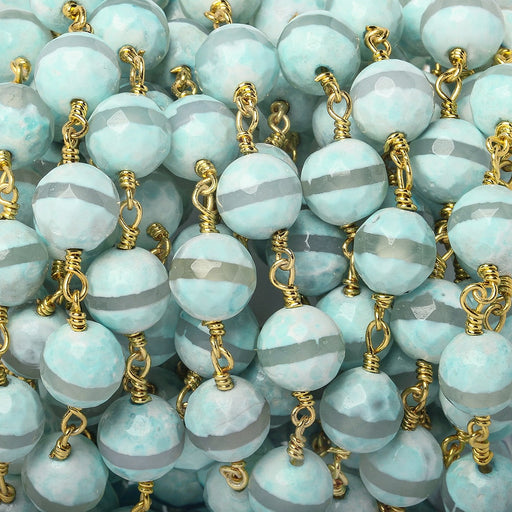 8mm Aqua Tibetan Agate faceted round Gold Chain by the foot 21 beads