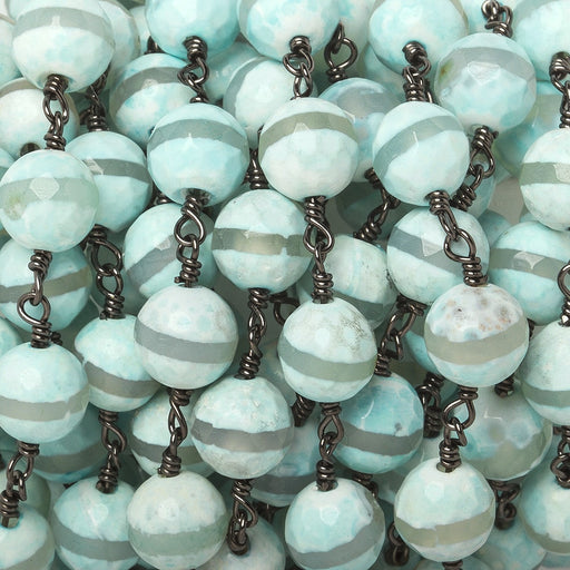 8mm Aqua Tibetan Agate faceted round Black Gold Chain by the foot 21 beads