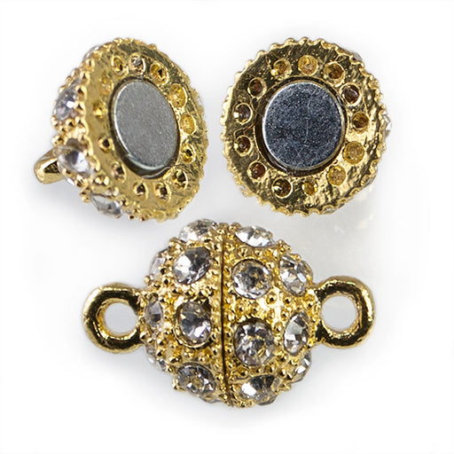 10mm Gold-tone White Rhinestone Round Magnetic Clasp 1 piece