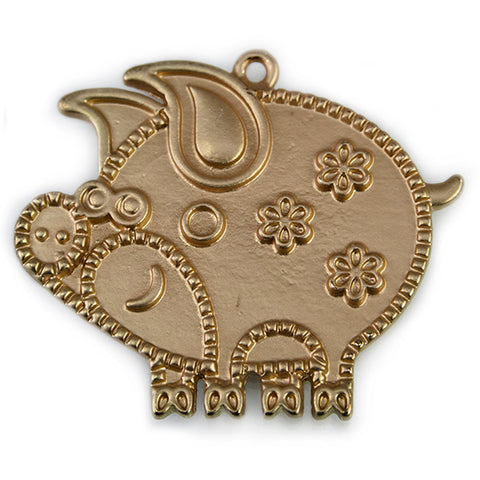 37x43mm Brass-tone Pig Pendant with Floral Relief Designs 1 piece
