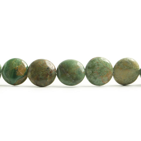 12mm Green African Opal plain coin beads 15 inch 33 pieces