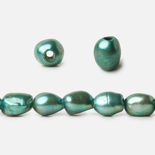 9x8-11x9mm Teal Baroque 2.5mm Large Hole Pearls 8 inch 19 pcs