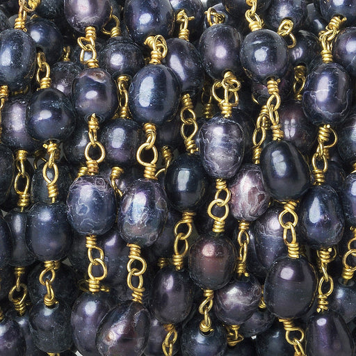 7x5mm Purple Oval Pearl Gold plated Chain by the foot 26 pieces