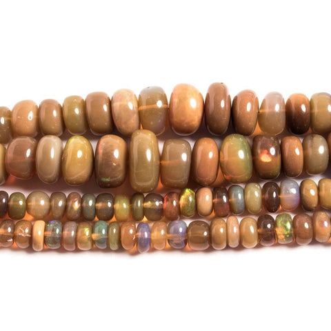 3 - 8mm Dark Golden Ethiopian Opal Plain Rondelle Beads 15 inch 146 pieces AA Grade