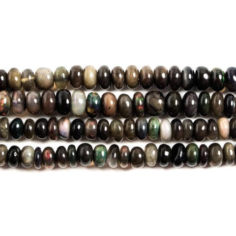 3-5mm Black Ethiopian Opal Plain Rondelle Beads 18 inch 203 pieces