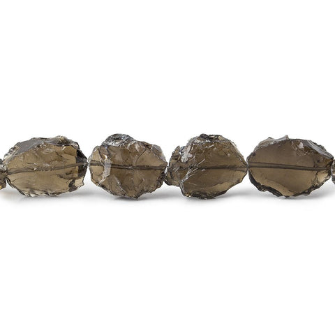 Smoky Quartz Hammer Faceted Oval Beads 8 inch 12 pieces