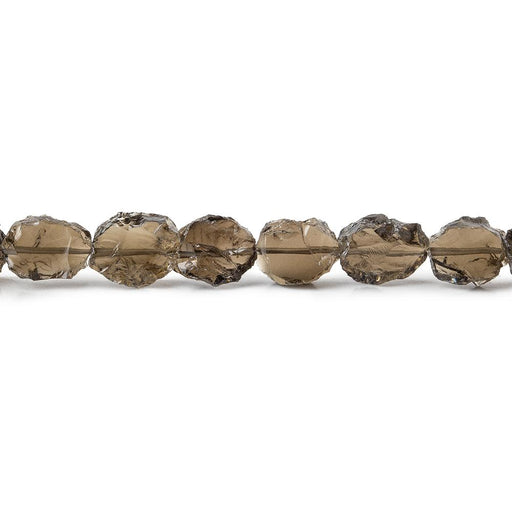 Smoky Quartz Hammer Faceted Oval Beads 8 inch 16 pieces