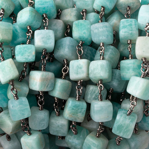 5x5-6x6mm Matte Amazonite plain cube Black Gold plated Chain by the foot 25 pcs