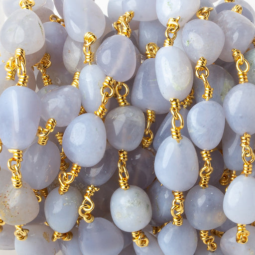 7x7-11x7mm Blue Chalcedony plain nugget Gold plated Chain by the foot 19 pieces