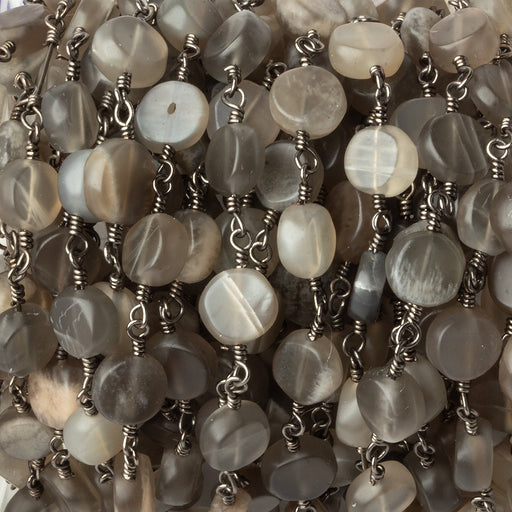 6.5-7mm Matte Multi Color Moonstone plain coin Black Gold plated Chain by the foot 23 pcs
