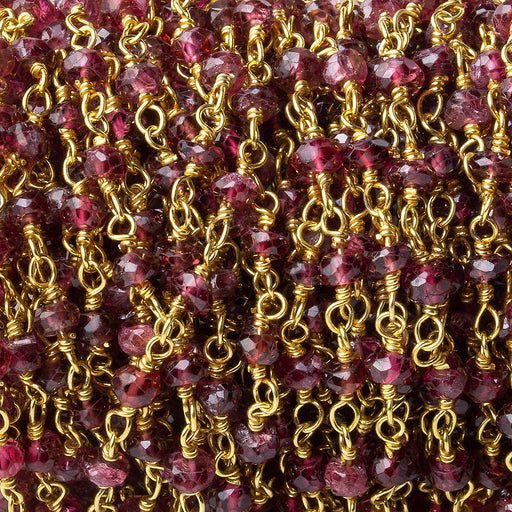 3mm Red Spinel faceted rondelle Gold plated Chain by the foot 42 pieces